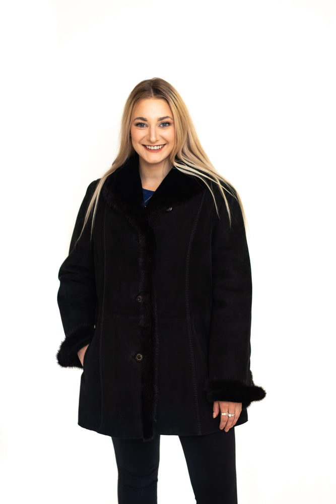 Shearling Jacket with Mink Trim