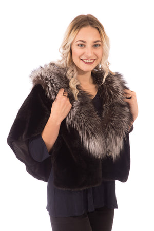 Mink Cape with Fox Collar