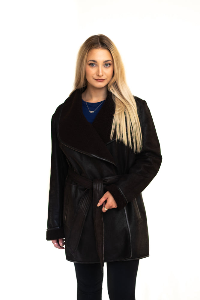 Leather Coat Brown with Leather Edges