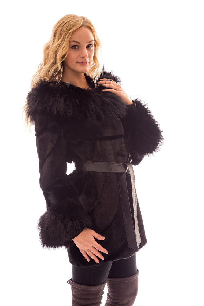 Ranch Mink 7/8 Coat with Hood and Silver Fox Trim