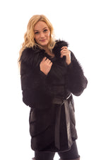 fur ranch mink coat hood silver fox