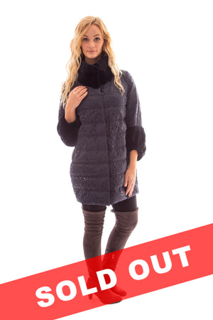 Down Jacket with Mink Trim