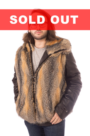 Grey Fox Fur Jacket with Detachable Sleeves