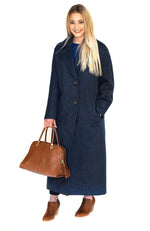 Wool & Cashmere Coat Navy & Bordo