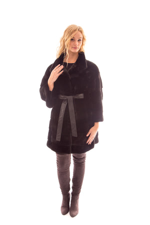 Load image into Gallery viewer, Demi Buff Mink 3/4 Coat with Leather Belt Available Cleveland ETON Chagrin & Akron Summit Mall