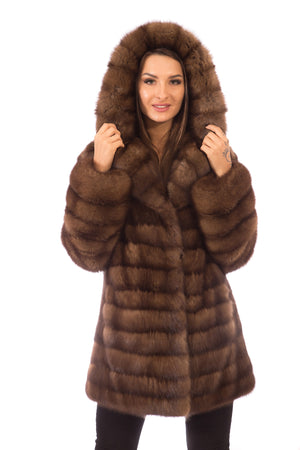 Sable Fur Coat with Hood