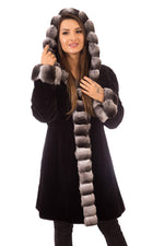 Sheared Mink Fur Coat Black, Reversible with Hood & Chinchilla Trim