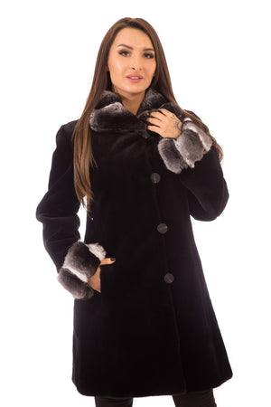 Sheared Mink  Fur Coat Black, Reversible with Chinchilla Collar & Cuffs