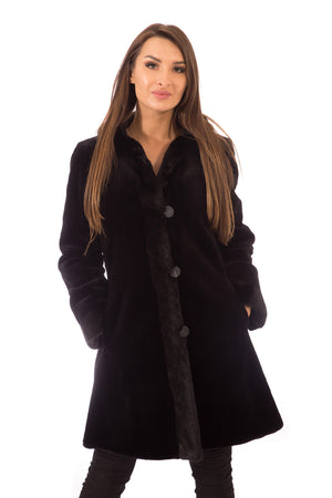 Load image into Gallery viewer, Sheared Mink Fur Coat Black Reversible with Hood & Mink Trim