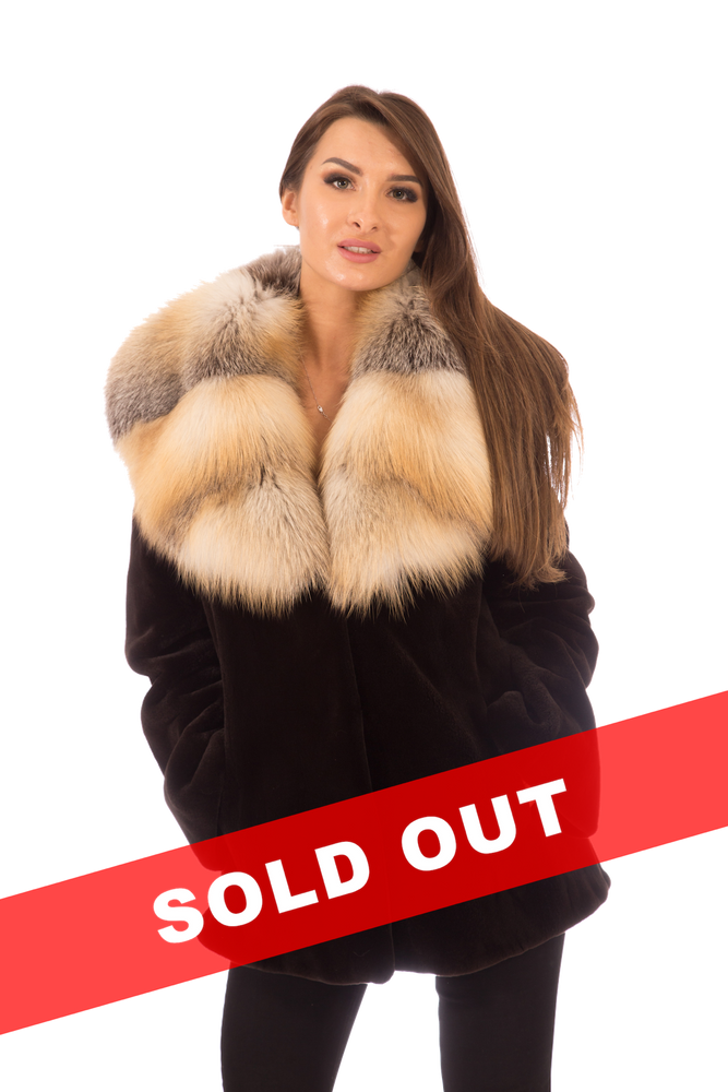 Sheared Mink Fur Jacket with Golden Isle Fox Collar