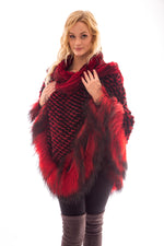 Red Rex Cape with Tibet Lamb Trim