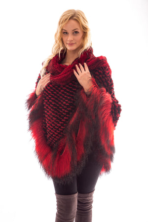 fur rex chinchilla tibet lamb cape poncho