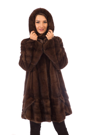 Brown , Mahogany and Ranch Mink Fur Coats with Hood
