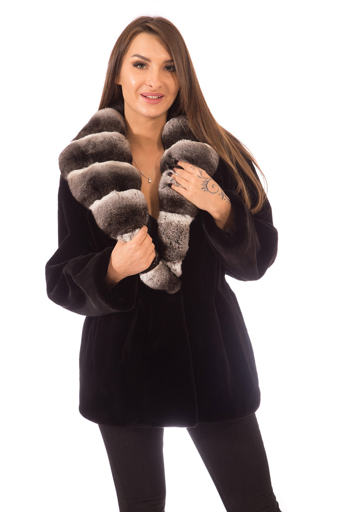 Ranch Mink Fur Jacket with Chinchilla Collar