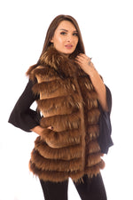 Sheared Beaver Fur Vest with Finish Raccoon Inserts