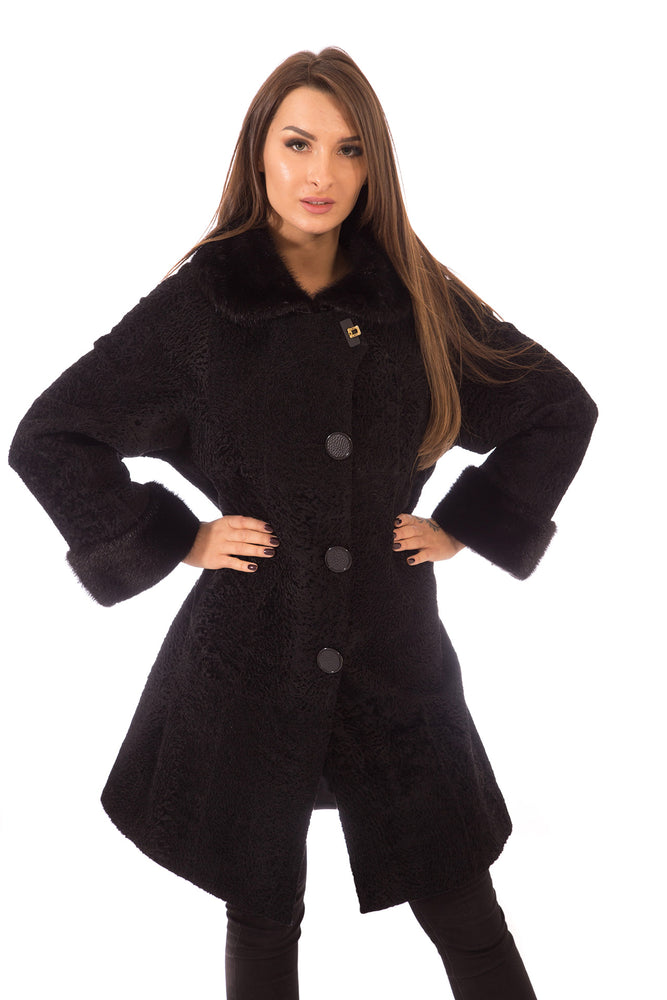 Persian Lamb Fur  Coat 3/4  with Mink Hood & Cuffs