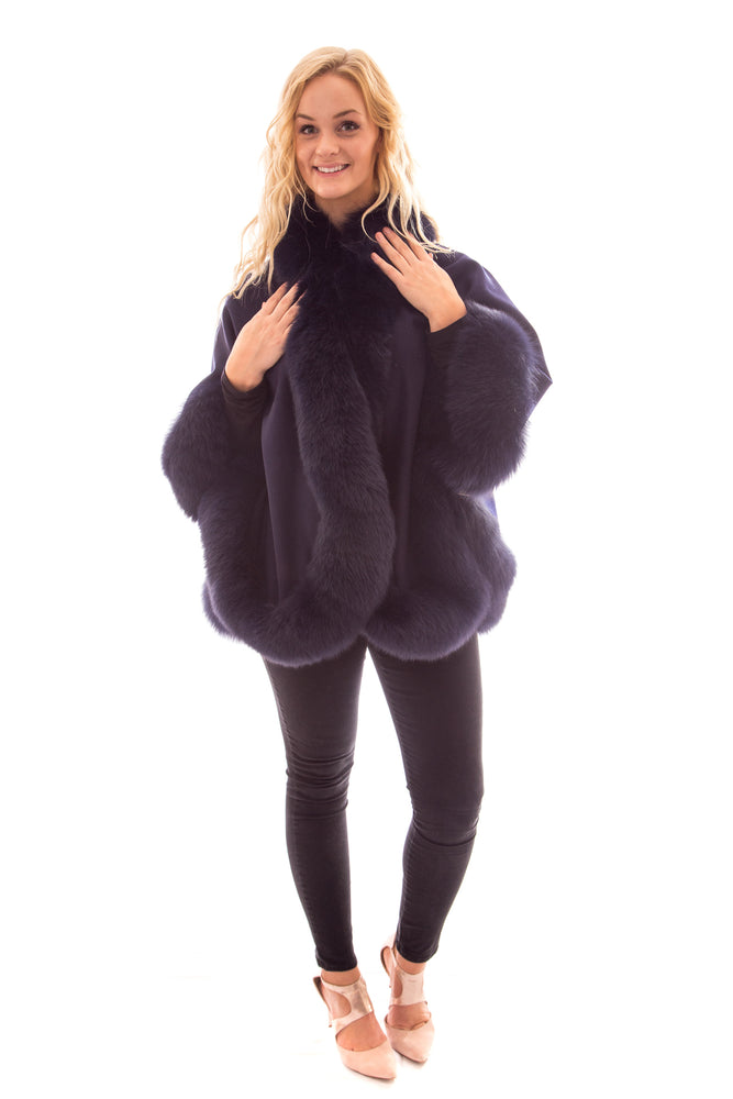 Load image into Gallery viewer, wool cashmere fox fur cape