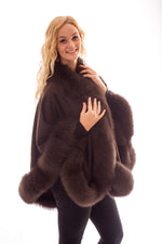 wool cashmere fox fur cape