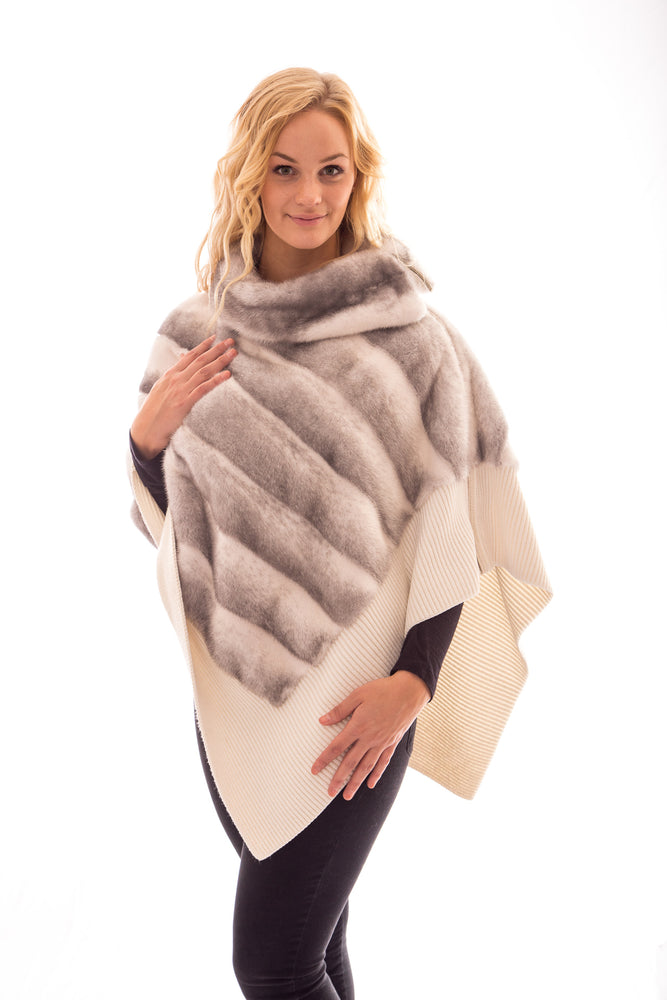 Load image into Gallery viewer, fur cross mink poncho coat