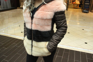 Load image into Gallery viewer, Mink Fur Jacket with Nylon Trim