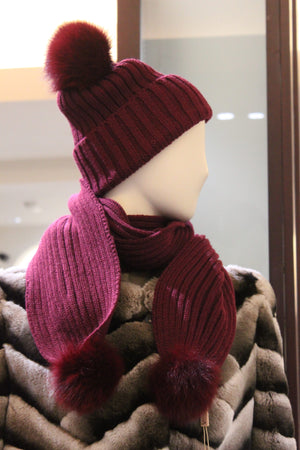 Knitted Hat and Scarf with Fox Fur Pom Poms