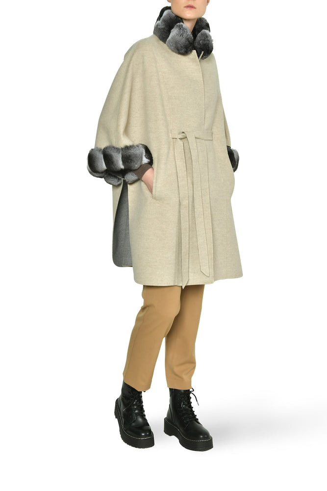 Cashmere Cape, Loro Piana with Sable Trim (shown with chinchilla)
