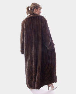 Load image into Gallery viewer, Mahogany Mink Fur Coat Directional
