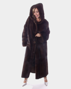 Mahogany Mink Fur Coat with Hood Available Cleveland ETON Chagrin & Akron Summit Mall