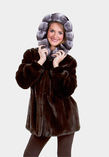 Ranch Mink Fur Jacket with Chinchilla Trimmed Hood Available Cleveland ETON Chagrin & Akron Summit Mall