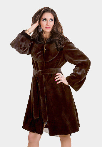 Sheared Mink Fur Coat with Belt