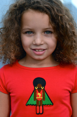 red organic cotton girl's T-shirt