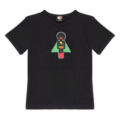 Black organic cotton boy's superhero T-Shirt