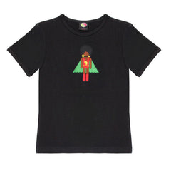 Black organic cotton girl's superhero T-Shirt