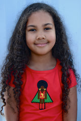 beautiful little girl in red organic kids clothing