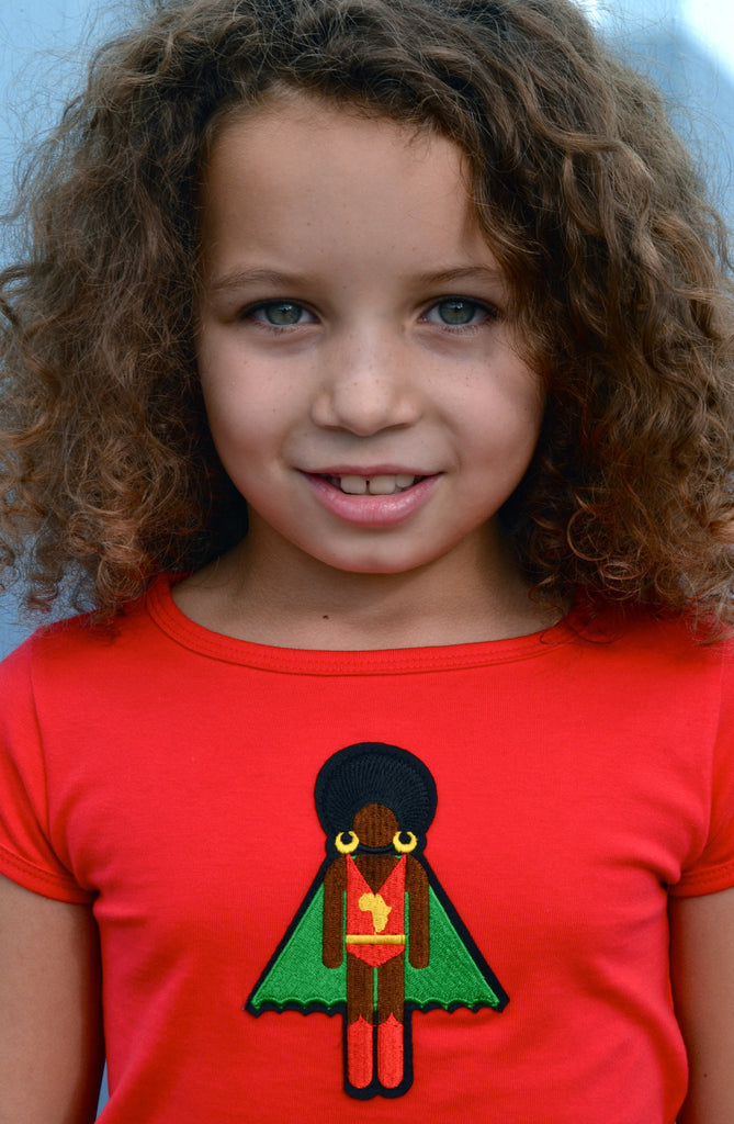 Red organic cotton girl's T Shirt