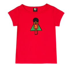 Red organic cotton girl's superhero T-Shirt