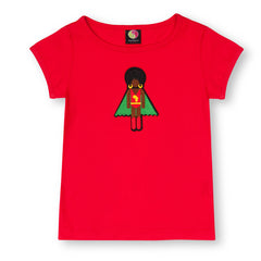 Rocket Red Afro Supa short sleeve organic cotton T shirt for girls