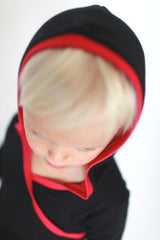 organic kids clothes, black hoodie dress