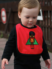 black organic cotton baby grow with cute red afro supa hero organic cotton baby bib