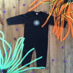 Spiders web Halloween baby sleepsuit