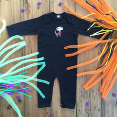 Skelecat Black organic cotton halloween baby grow