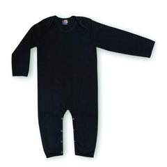 black organic cotton baby onesie - envelope neck, black clothes for babies