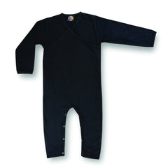 black organic cotton baby onesie - v neck, black clothing for babies