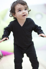 cute baby girl wearing organic cotton black clothes for babies