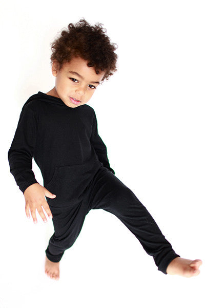 black organic cotton and modal fabric kid's leggings, organic kids clothes