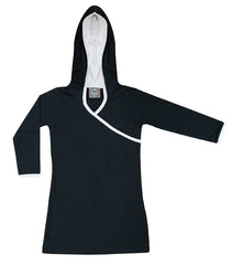 Organic kids clothes - black hoodie dress