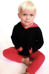 black and raspberry pink kid's hoodie top, organic kids clothes