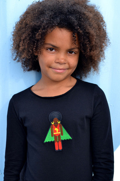 black organic cotton kids clothes, long sleeve super hero girl's T shirt, black clothes for kids