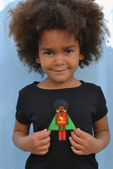 cute little girl in black organic cotton kids clothing Afro Supa Hero T Shirt, black clothes for kids