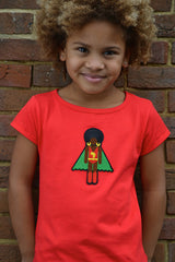 cute little girl in red organic cotton super hero short sleeve t shirt